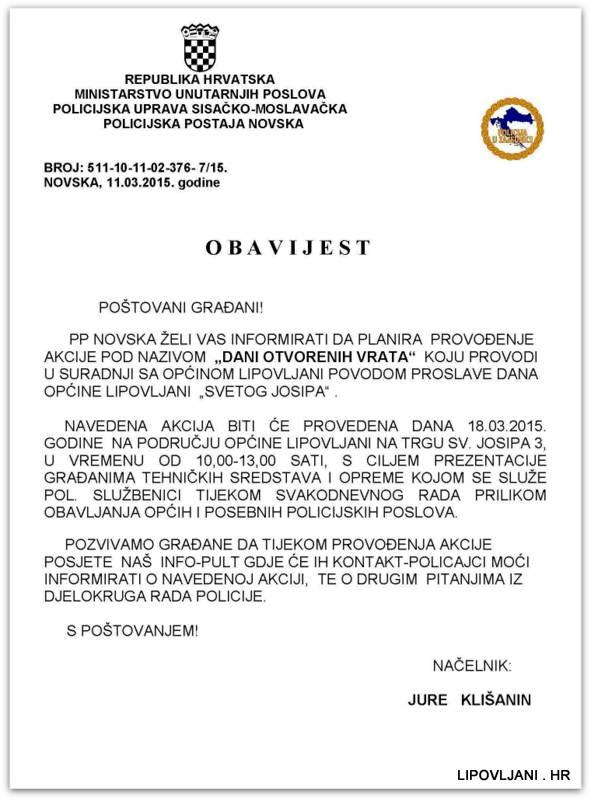 1-OBAVIJEST GRAĐANIMA-DANI OTVORENIH VRATA  18.03.2015