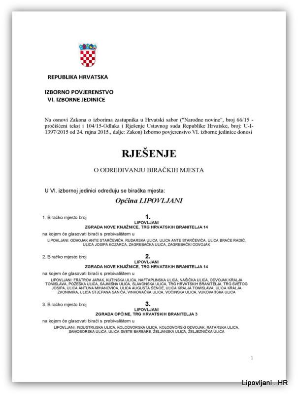 1-RJEŠENJE O BIRAČKIM MJESTIMA SABOR_Page_1-001