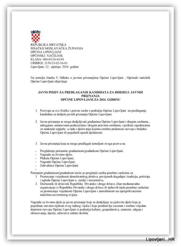 1-Javni poziv za predlaganje kandidata za dodjelu javnih priznanja Općine Lipovljani za 2016. godinu_Page_1