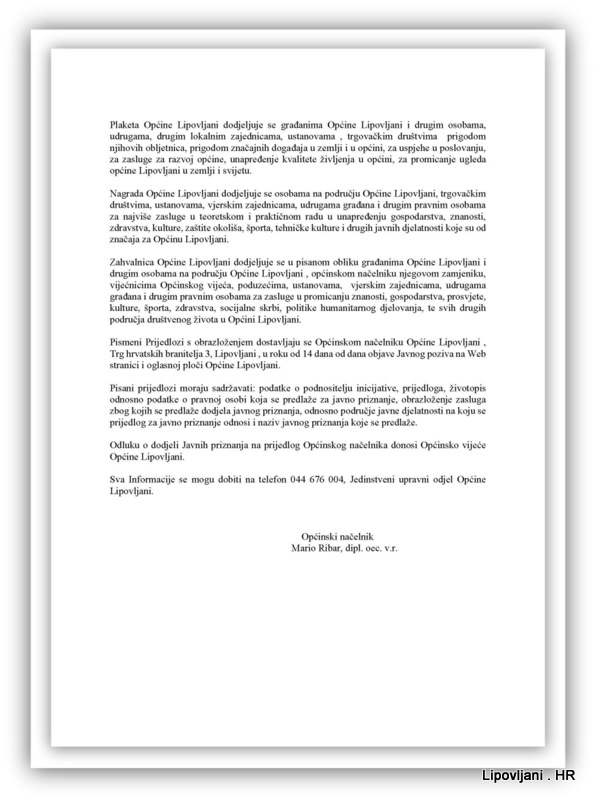 1-Javni poziv za predlaganje kandidata za dodjelu javnih priznanja Općine Lipovljani za 2016. godinu_Page_2