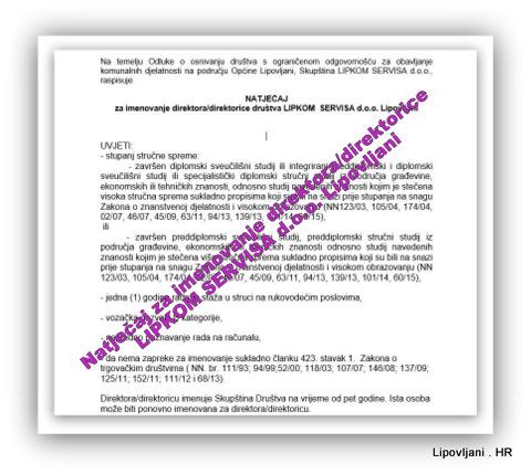 Natječaj za imenovanje direktora/direktorice LIPKOM SERVISA d.o.o. Lipovljani