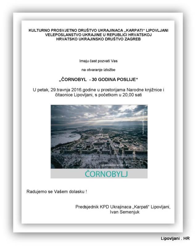 1-POZIVNICA  Cornobyl   30 godina poslije