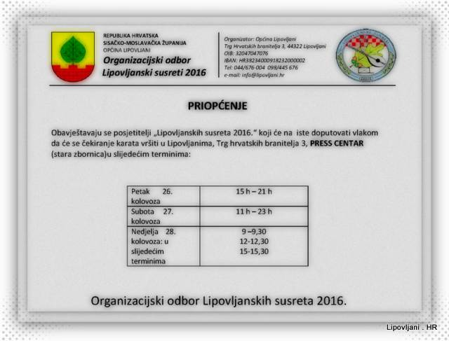 Raspored potvrđivanja povratnih karata za ostvarivanje popusta na željeznički prijevoz za LS2016
