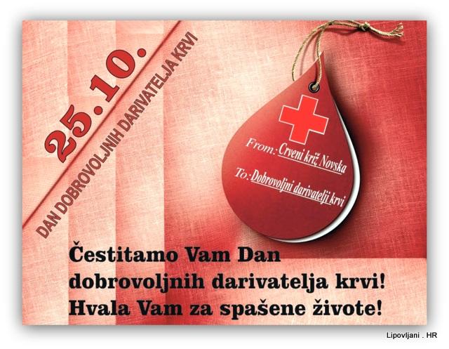 Čestitka povodom Dana dobrovoljnih darivatelja krvi.