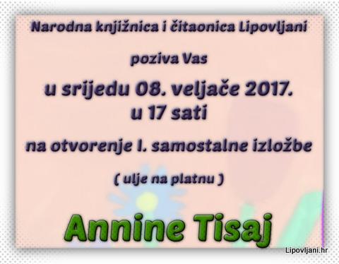 Otvorenje I. samostalne izložbe Annine Tisaj