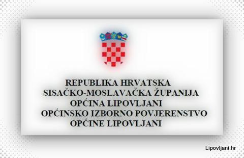 Obavijest Općinskog izbornog povjerenstva Općine Lipovljani.