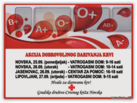 Poziv za akciju dobrovoljnog darivanja krvi – rujan 2017.