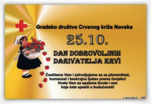 Čestitka  u povodu 25.10. – Dana dobrovoljnih darivatelja krvi