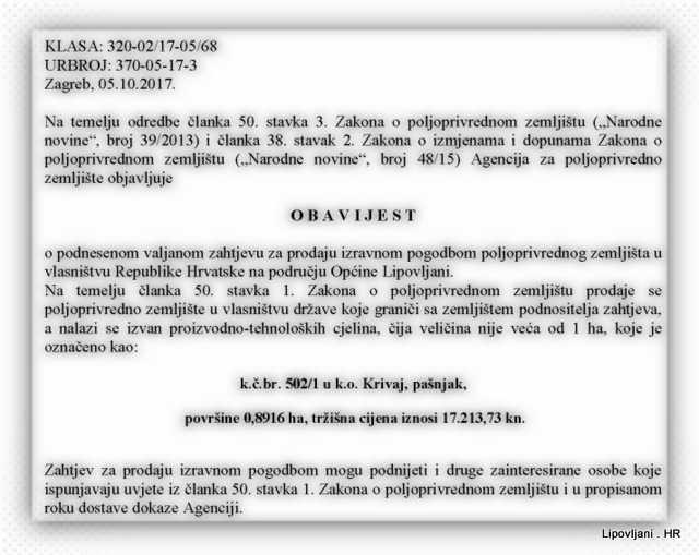 Obavijest_o_prodaji – Općina Lipovljani- Krivaj, pašnjak