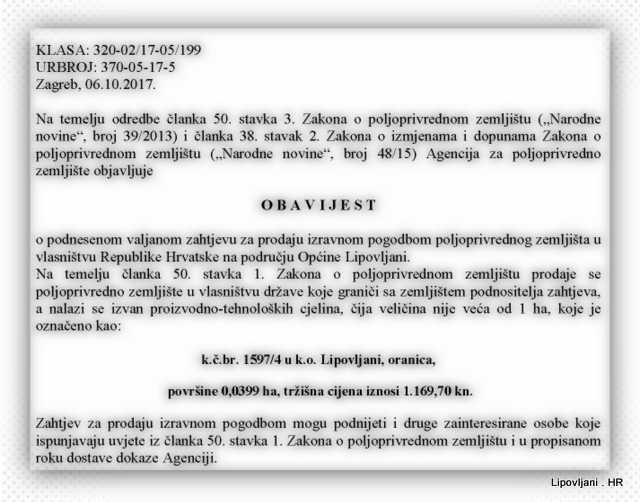 Obavijest_o_prodaji – Općina Lipovljani – Lipovljani, oranica