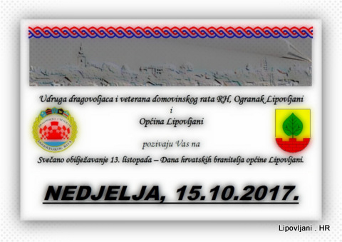 Svečano obilježavanje 13. listopada – Dana hrvatskih branitelja općine Lipovljani.