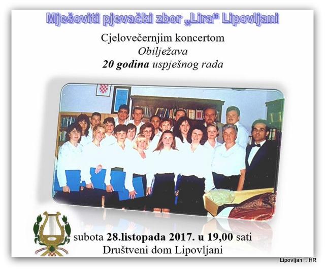 """Mješoviti pjevački zbor """"Lira"""" Lipovljani cjelovečernjim koncertom obilježava 20 godina uspješnog rada"""