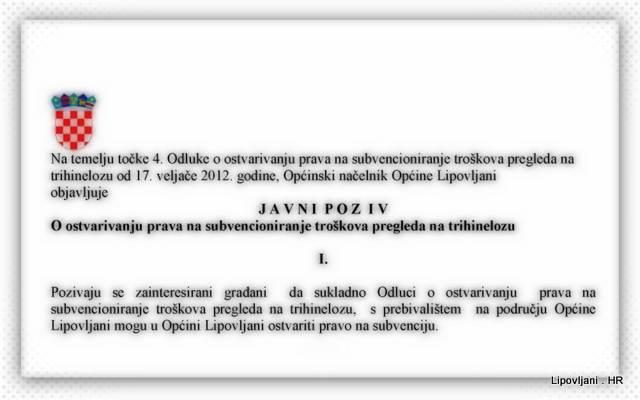 JAVNI POZIV o ostvarivanju prava na subvencioniranje troškova pregleda na trihinelozu
