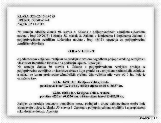Obavijest_o_prodaji – Općina Lipovljani- Kraljeva Velika, livada, oranica