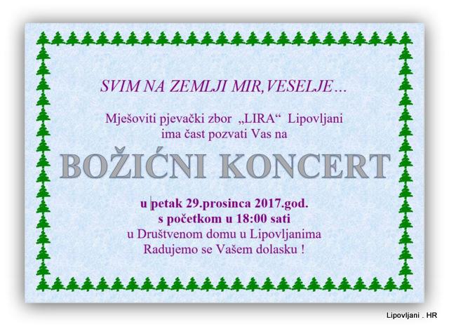 """BOŽIĆNI   KONCERT 2017. """"SVIM NA ZEMLJI MIR,VESELJE…"""""""