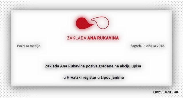 Zaklada Ana Rukavina poziva građane na akciju upisa u Hrvatski registar u Lipovljanima