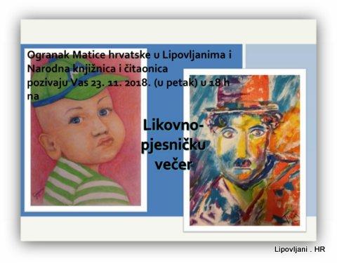 Narodna knjižnica i čitaonica i Ogranak Matice hrvatske u Lipovljanima  organiziraju  Likovno-pjesnička večer