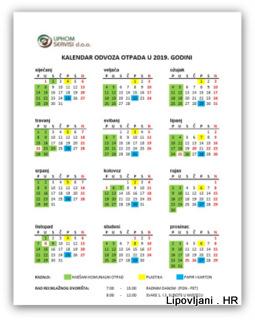Kalendar za odvoz otpada 2019. godine